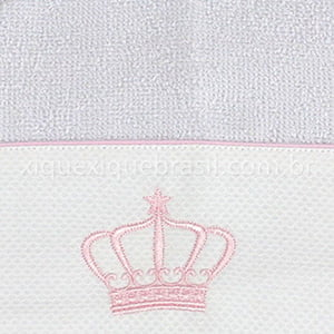 Toalha Capuz Felpa e Fralda Coroa Rosa