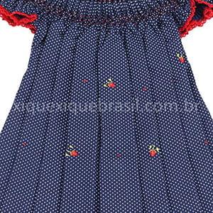 Vestido Casinha de Abelha Poá Marinho - 2 anos