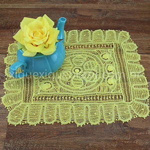 Toalha de Bandeja Renda Renascença Amarela Flor