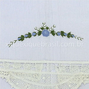 Toalha Renda Renascença Rococó Flor Azul