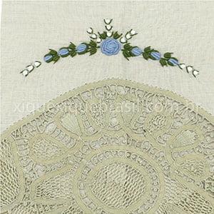 Toalha Renda Renascença Rococó Flor Azul Bico G Bege