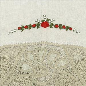 Toalha Renda Renascença Rococó Flor Vermelha Bico G Bege