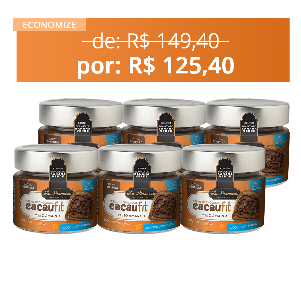 6X COMBO CREME DE CHOCOLATE CACAUFIT MEIO AMARGO