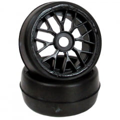 Sintec - Roda C/ Pneu Sintec slick com rodas YBS preta para brushless - S103