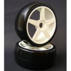 Sintec - Roda C/ Pneu Sintec Slick on road 47MM traseiro c/ roda ST branca 1/8 (par) - S091