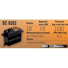 SERVO DIGITAL SAVOX SC-0352 (6 VOLTS, 6.5KG, 0.13S)