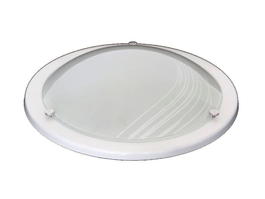Plafon Mod. Saturno Vidro Riscado Branco 2 lâmpadas- cores
