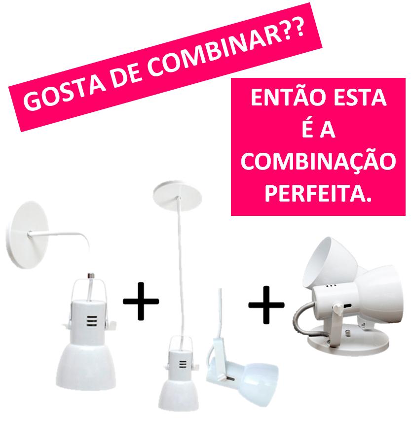 Combo Arandela Pendente e Spot Duplo em Aluminio para lâmpada Bulbo Led Cores Branco Preto e Aluminio Escovado - Bocão