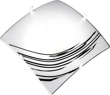 Plafon Quadrado 4 Garras Serigrafado com Detalhes p/ 2 lâmpadas
