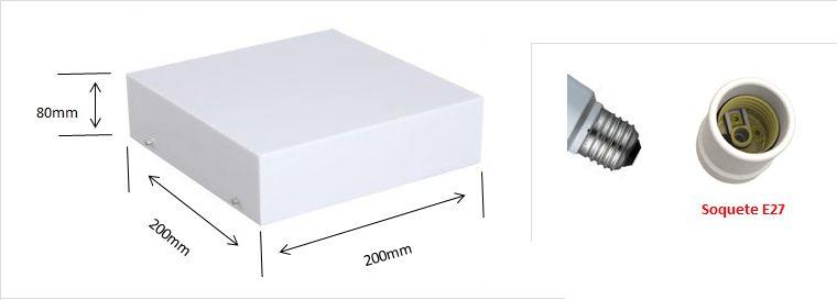 Plafon Acrilico Translucido c/ Detalhe Espelhado Quadrado p/ 1, 2,3 ou 4 lâmpadas