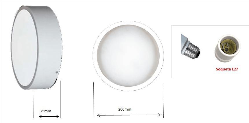 Plafon Redondo mod. Pizza Vidro Fosco p/ 1 ou 2 lâmpadas - cores