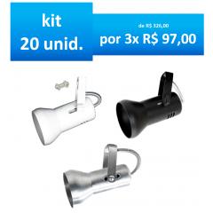 Kit Spot para Trilho p/ lampada par20 ou Lampada Comum Bulbo Led em Aluminio c/ 20 unidades