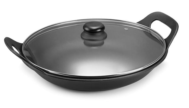 panela de ferro fundido para risoto com tampa de vidro, risotto, paelleira de ferro, frigideira e assadeira 5 litros