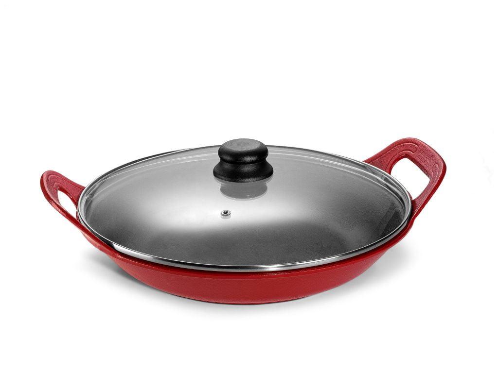 panela de ferro fundido vermelha para risoto com tampa de vidro, risotto, 5 litros paelleira de ferro, frigideira e assadeira