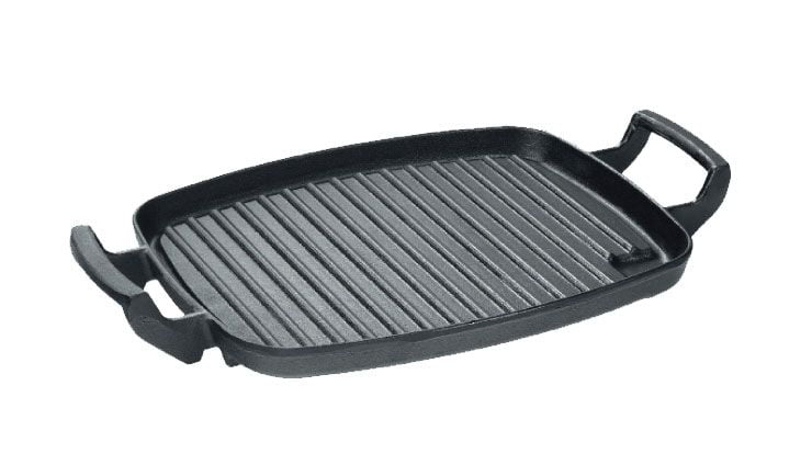 chapa de ferro alça de ferro, chapa grill, grelha de ferro fundido 30x24