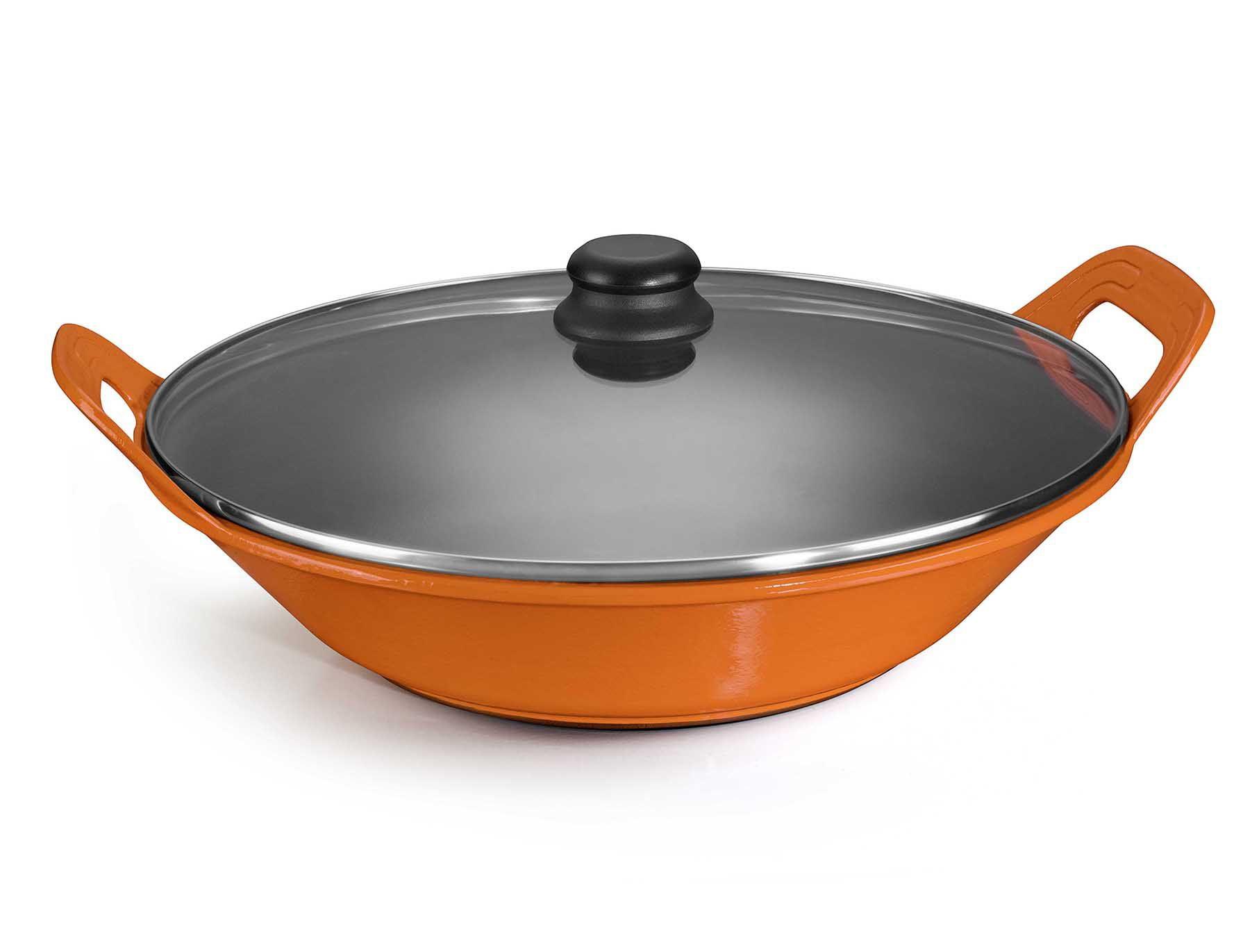 panela de ferro fundido laranja para risoto com tampa de vidro, risotto, 5 litros paelleira de ferro, frigideira e assadeira