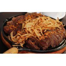Bifeteira de ferro fundido 23 cm redonda, chapa picanheira, bifeira, bistequeira, grill libaneza, panela mineira