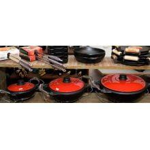 panela de moqueca de ferro fundido, moquequeira, panela de barro capixaba, 1,5 l, tampa esmaltada vermelha
