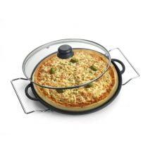 Forma de Pizza 30 cm tampa de vidro com suporte