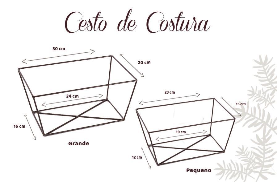 Banner tamanhos cesto de costura