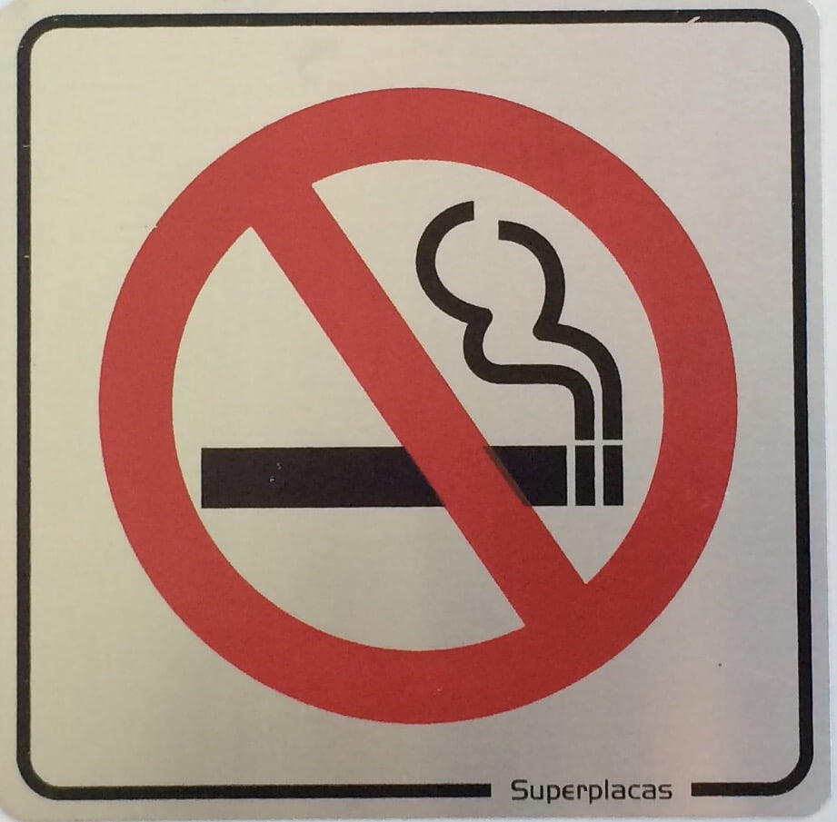 Placa Sinalização Proibido Fumar Alumínio 12x12cm SuperPlacas