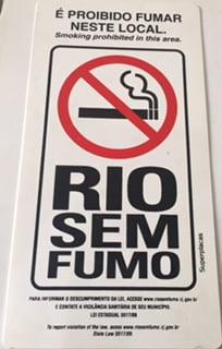 Placa Sinalização Rio de Janeiro - Rio Sem Fumo - Plástico Rígido  - Tamanho: 12x24 cm