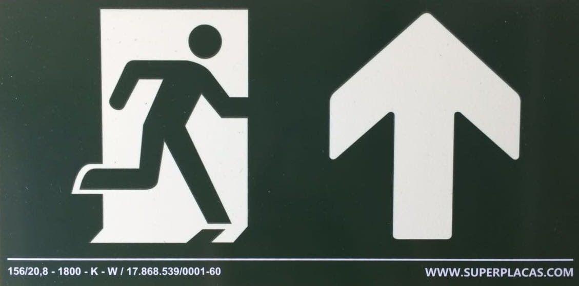 Placa Sinalização Saída com Seta Para Cima S3- Tamanho: 20x40 cm Super Placas