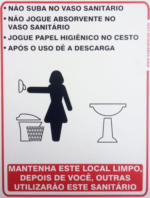 Placa Banheiro Educativa Feminino 15x20 Plástico SuperPlacas