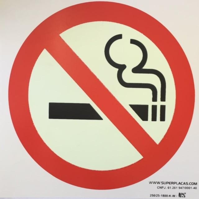Placa Proibido Fumar Fotoluminescente  Plástico 21x21cm SuperPlacas