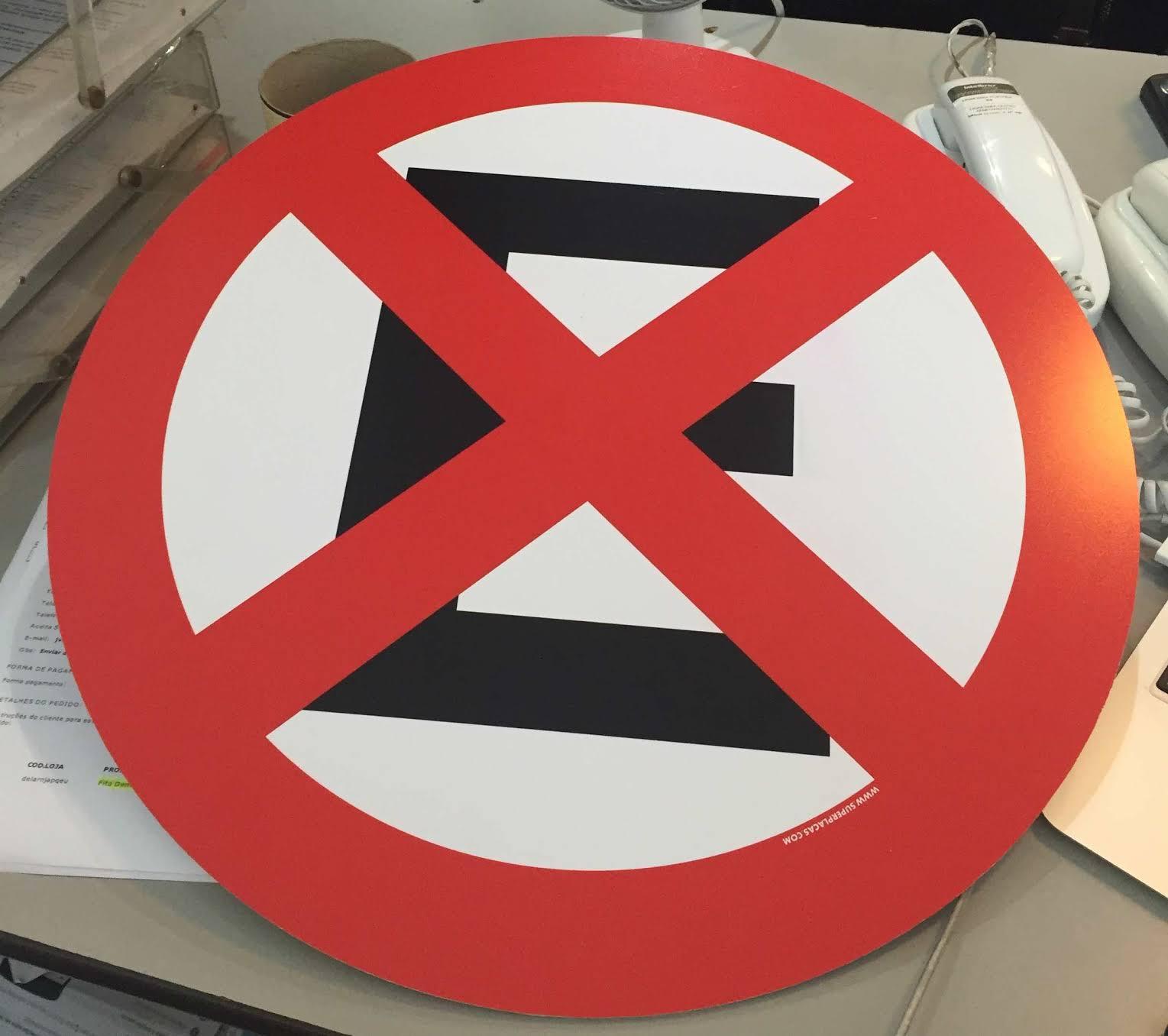 Placa Proibido Estacionar -Redonda -  Plástico 45x45cm  - 300AD