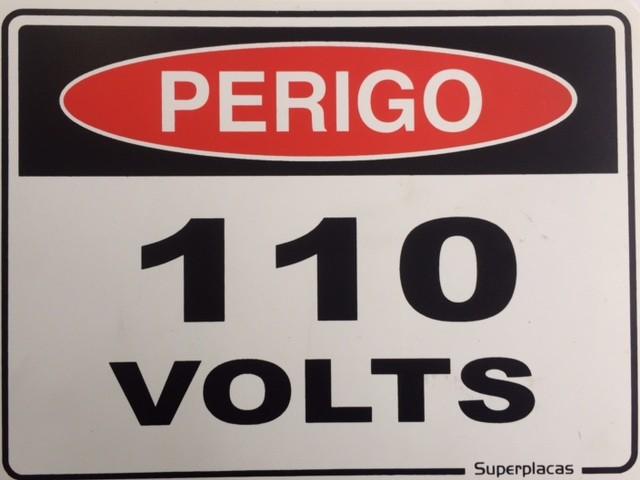 Placa Sinalização 110 Volts - Plástico 15x20 SuperPlacas