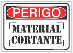 Placa Sinalização Material Cortante Plástico 15x20cm SuperPlacas