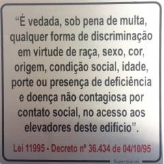 Placa Elevador Discriminação Lei 11995