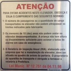 Placa Elevador Atenção: Evite Acidentes Lei Municipal 12.751
