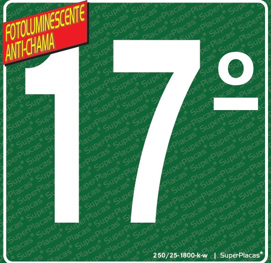 Placa 17° Andar - Fotoluminescente