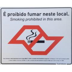 Placa Proibido Fumar - Lei Estadual 13.541