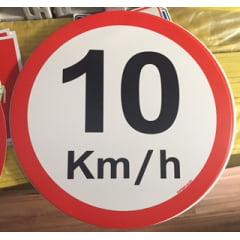 Placa Velocidade Máxima 10 Km/h  - Plástico  (Diametro 45cm)