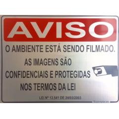 Placa Aviso: Ambiente Sendo Filmado Lei 13.541