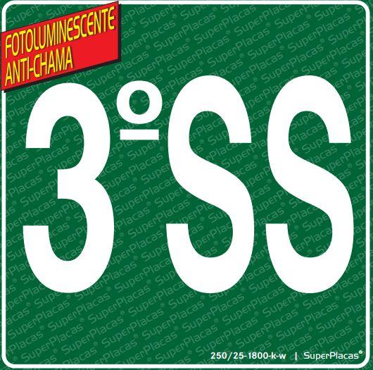 Placa de Sinalização Certificada SS3 (3° Subsolo) - Fotoluminescente