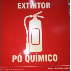Placa Certificada Extintor Pó Químico - E5P - 20x20 cm