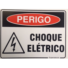 Placa Perigo Choque Elétrico - Plástico