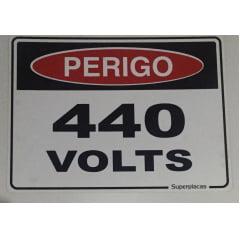 Placa Sinalização 440 Volts -  Plástico