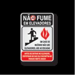 Placa Sinalização Elevador - Em caso de Incêndio Não Use levador - Alumínio 16x23 cm