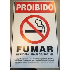 Placa Proibido fumar - Lei Federal