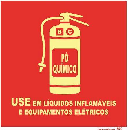 Placa Sinalização Extintor C/ Pó Químico - Use em Equipamento Inflámaveis e Equipamentos Elétrico