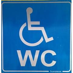 Placa WC Cadeirante Acessibilidade Deficiente Porta Banheiro  - Alumínio 15x15cm  SIC (Simbolo Internacional Cadeirante)