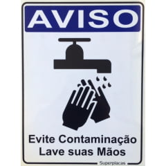 Placa Aviso: Evite Contaminação Lave as Mãos