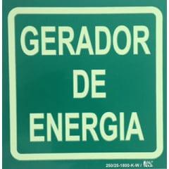 Placa de Sinalização Gerador de Energia - Fotoluminescente