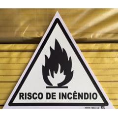 Placa Sinalização Fotoluminescente NBR 13434-3 Emergência Corpo de Bombeiros - Risco de Incêndio  - Pictograma