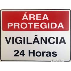 Placa Área Protegida: Vigilância 24 horas  15x20 Plástico SuperPlacas